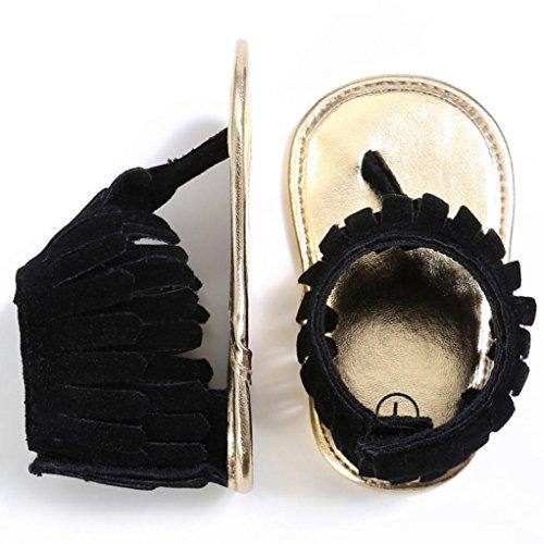 Sandalias para bebés, RETUROM Bebé la borla suave suela antideslizante sandalias zapatillas Negro