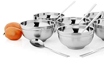 Buy Mosaic Stainless Steel Soup Bowl Set 300ml Set Of 12 Silver