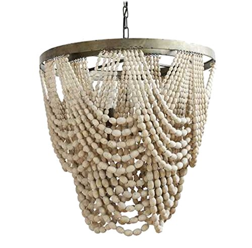 Natural Wood Beaded Chandelier with Drapery Aligned High Designer -The KIngs Bay ()