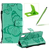 Strap Leather Case for iPhone XR,Wallet Leather Case for iPhone XR,Herzzer Premium Stylish Pretty 3D Green Butterfly Printed Bookstyle Magnetic Full Body Soft Rubber Flip Portable Carrying Stand Case with Card Holder Slots