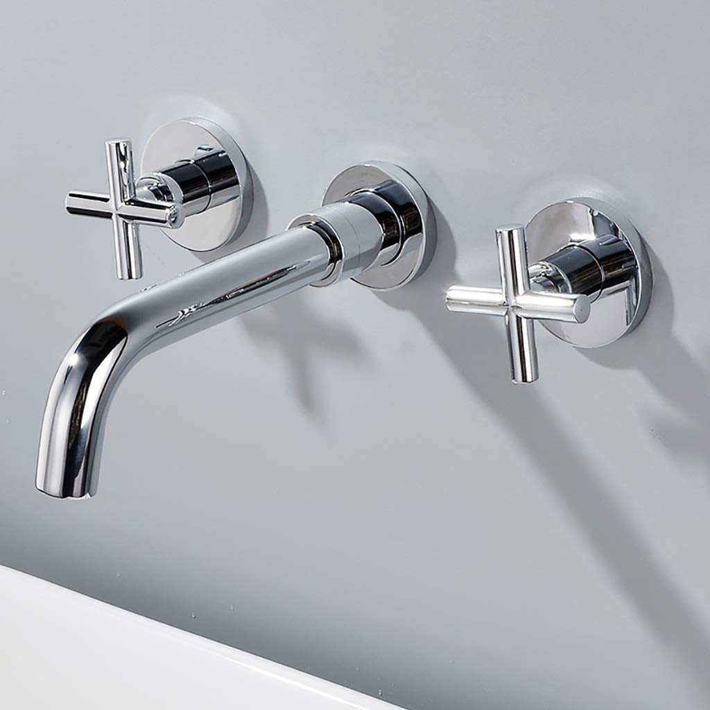 ZAQXSW Full copper dark wall-mounted washbasin faucet built-in washbasin embedded wall faucet