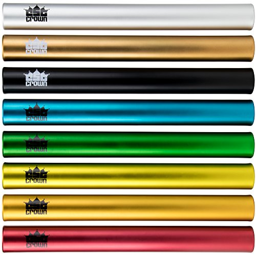 Standard Junior-Size Aluminum Track & Field Relay Batons-Set of 8 Assorted Colors by Crown Sporting - Track And Baton Field