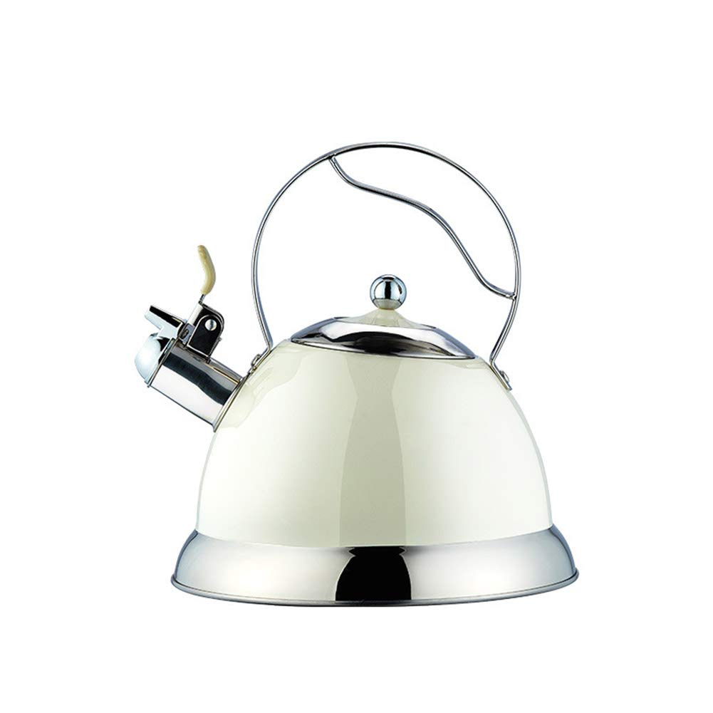 YJF 304 Thicken Whistling Brushed Stainless Steel Tea Kettle 2.7 Quart Stove Top Teapot