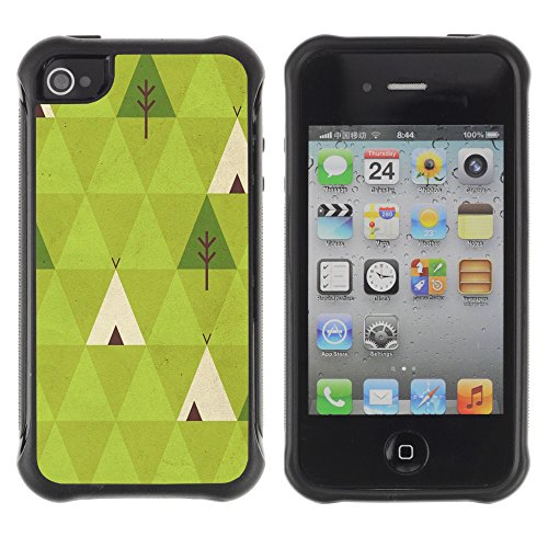 Forest Poly Art Nature Indian - Heavy Duty Armor Shockproof Silicone Cover Rugged case for Apple Iphone 4 / 4S