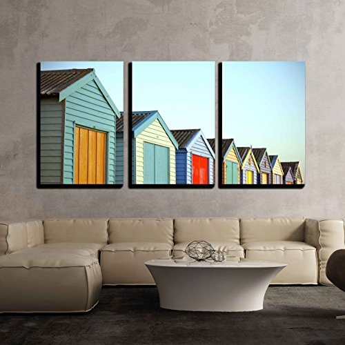 wall26 - 3 Piece Canvas Wall Art - Bright Painted Houses - Modern Home Decor Stretched and Framed Ready to Hang - 24