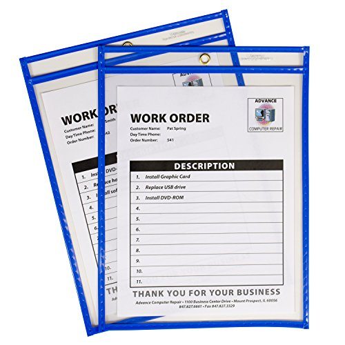 C-Line Neon Stitched Shop Ticket Holders, Blue, Both Sides Clear, 9 x 12 Inches, 15 per Box (Cline Hanging Box)
