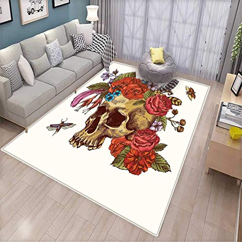 Day of The Dead Kids Carpet Playmat Rug Vintage Sugar Skull Bouquet of Flowers Feathers Blooms Bugs and Bees Print Door Mats for Inside Non Slip Backing Multicolor