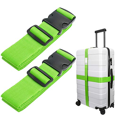 Luxebell Luggage Straps Suitcase Belt Travel Accessories, 1.96 in W x 6.56 ft L, 2-Pack (6.56ft, Green)