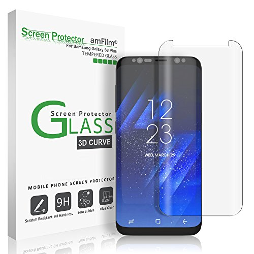 Galaxy S8 Plus Glass Screen Protector, amFilm Full Screen [Case Friendly] Dot Matrix 3D Curved Tempered Glass Screen Protector for Samsung Galaxy S8 Plus [Clear] [Bubble Free Guarantee]