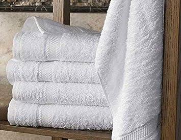 5 toallas de baño 70x140 cm 500gr / m² algodón egipcio del hotel White (70 x 140 cm): Amazon.es: Hogar