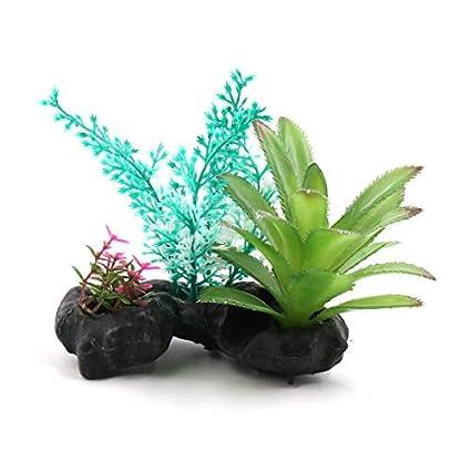 eDealMax Peces de plástico tanque terrario Plantas Decoración Base de cerámica Para Reptiles