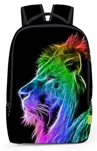 Pizoff Doulbe Mesh Padded Adjustable Shoulder Straps Cute Colorful Lion Print Zipper Rucksack Travel Backpacks Y1799-60