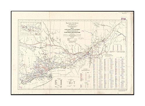 1911 Map: Ontario & Quebec showing location & capacity of flour mills & elevators Includes statistics & index to flour mills & elevators.Inset: Northern Ontario.Quebec Canada|Ready to - Location Mills Ontario