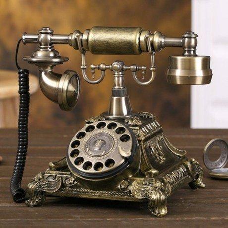 アンティークスタイル 重厚感溢れる ブロンズカラー素敵な インテリア 電話器 ダイヤル式 B00I989Z38