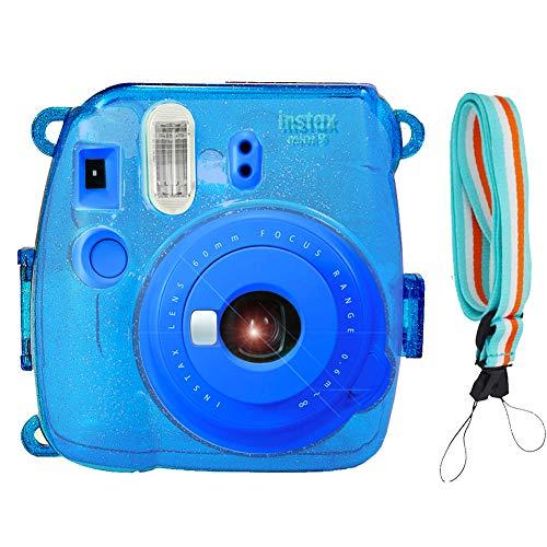 SAIKA Crystal Case for Fujifilm INSTAX Mini 9 Instant Camera (Tile Blue) with Adjustable Shoulder Strap