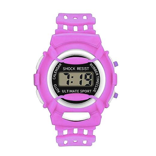 Reloj De Moda Deportivo Infantil Impermeable Relojes LED Digital Reloj De Pulsera Electronico Nuevo Kelry (Morado): Amazon.es: Relojes