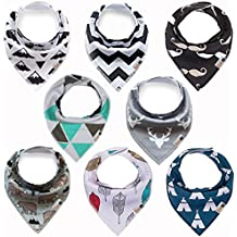 """Bandana Drool Bibs 8-pack for Baby Boys, Girls, unisex, Baby Shower Gift, """"Little Mustache"""" 100% Organic Cotton, Soft, Absorbent and Stylish For Drooling and Teething Infant and Toddler by Gift It!"""