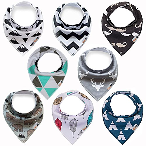 Bandana Drool Bibs 8-pack for Baby Boys, Girls, unisex, Baby Shower Gift,