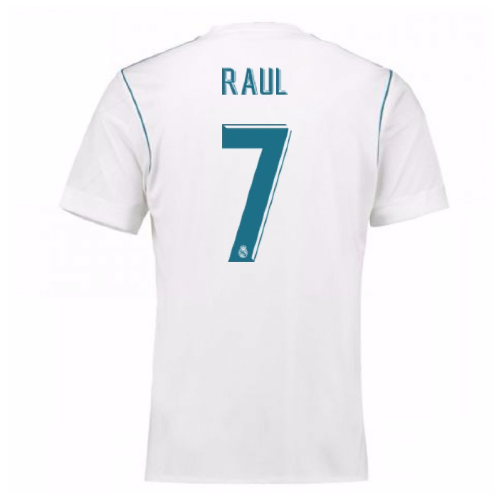 2017-18 Real Madrid Home Football Soccer T-Shirt Trikot (Raul 7)