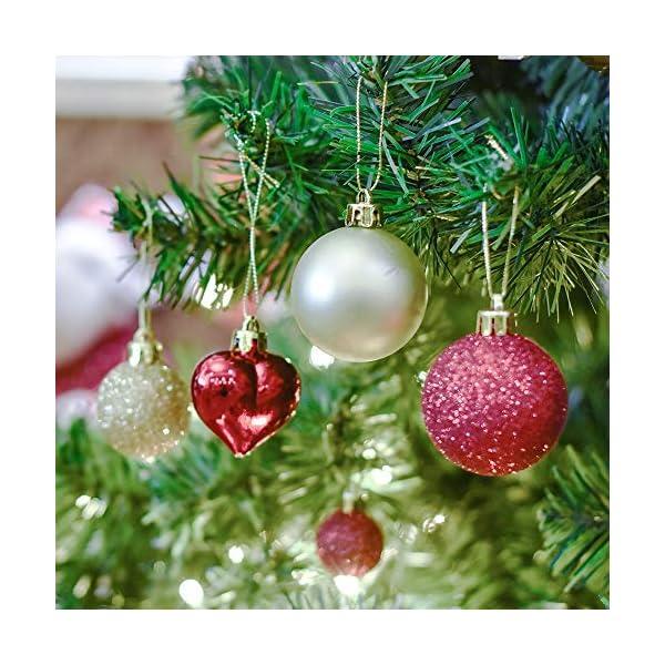 Valery Madelyn Palle di Natale 60 Pezzi di Palline di Natale, 3-5 cm di Lusso Rosso e Oro Infrangibile Ornamenti di Palla di Natale Decorazione per la Decorazione Dell'Albero di Natale 5 spesavip