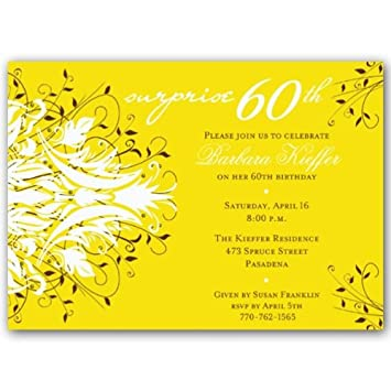Amazon Com Andromeda Yellow Surprise 60th Birthday Invitations