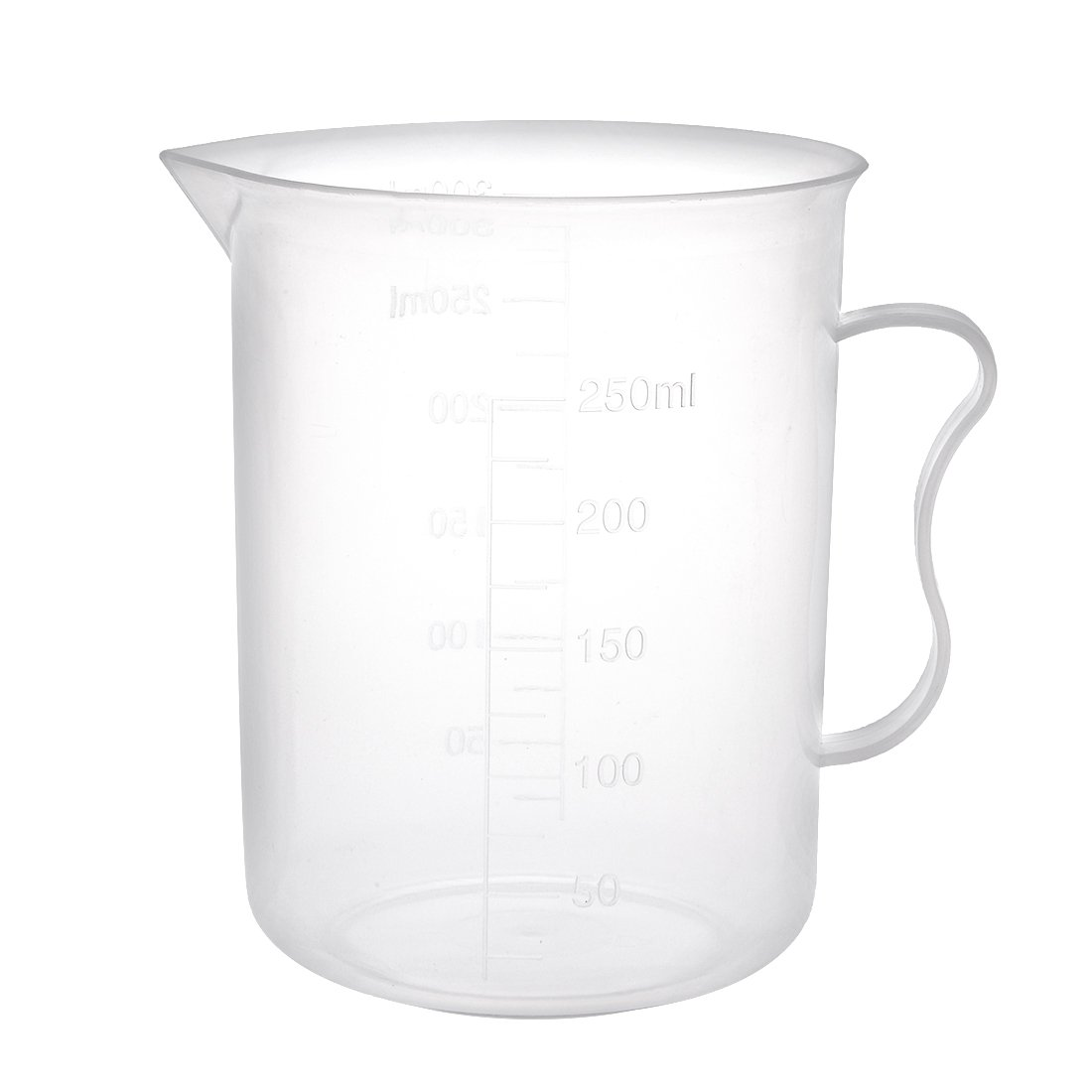 sourcingmap Laboratory Clear White PP 300ML Measuring Cup Handled Beaker a18031400ux0052