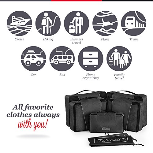 MyTravelUp, 7in1 - TRAVEL PACKING CUBES for everyone who loves travelling, HIGH QUALITY durable material, 2 BAGS for LAUNDRY/SHOES. This travel set will be a SMART ORGANIZER for clothes (Black) by MyTravelUp (Image #1)