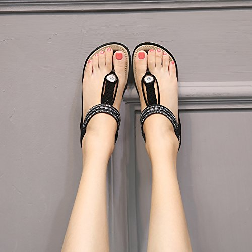 Meeshine Womens Summer Beach Flat Sandals Rhinestone Shiny Beads Slip On Flip Flops Thong Shoes(11 B(M) US,Black 04) by Meeshine (Image #5)