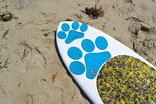 Paddle with your dog Pup Deck SUP Traction Pad for Dogs Stand Up Paddleboard Deck Padding. Blue Paw Prints