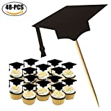 #9: Coxeer Graduation Cake Topper, 48PCS Cupcake Topper Creative Graduation Cap Party Cake Topper (Black)