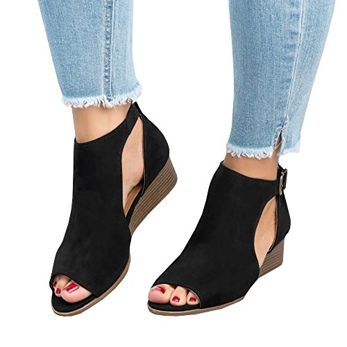 FISACE Womens Peep Toe Ankle Buckle Wedge Sandals Cut Out Espadrille Suede Flat Shoes,Black,B(M) US 10 EU ()