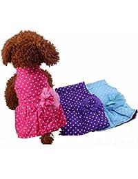 Get Bargain World Pet Dog Sweet Polka Dots Dresses Puppy Lace Bow Flower Cotton Warm Skirt dispense