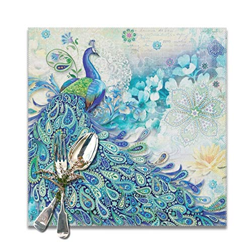 (Table Mats Proud Peacock Opens Washable Placemats Set Of 6, Heat Insulation Placemats Stain Washable Table Mats,Placemats For Home Kitchen Dining Table-30x30)