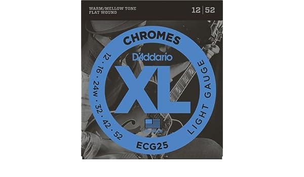 Amazon.com: CUERDAS GUITARRA ELECTRICA - D´addario (ECG/25) Lite (Juego Completo 012/052) Entorchado Plano: Musical Instruments