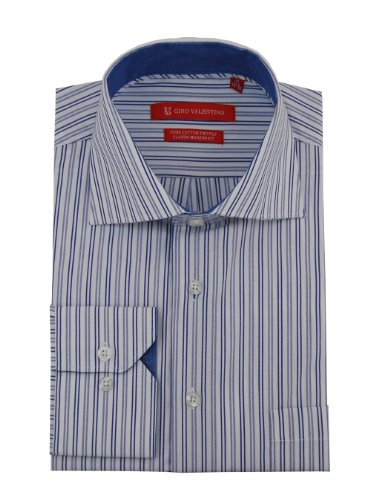 Gino Valentino Mens Striped Dress Shirt Cotton Spread Collar Barrel Cuff (15.5