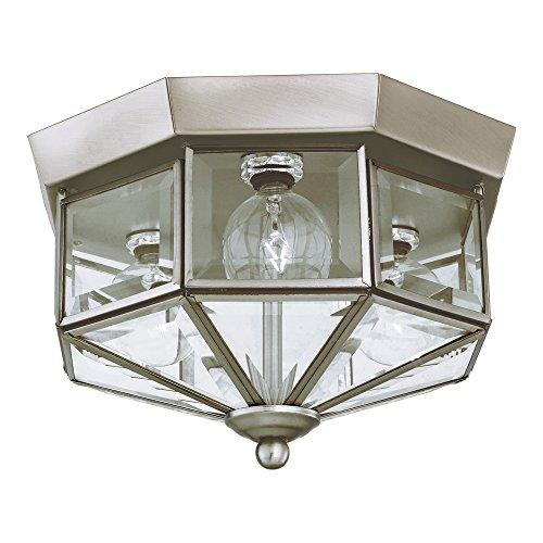 Sea Gull Lighting 7661-962 Grandover Three-Light Flush Mount Ceiling Light with Clear Beveled Glass Panels, Brushed Nickel Finish (Grandover 3 Light)