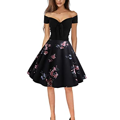 Image Unavailable. Image not available for. Color  Women s 1950s Vintage  Party Dresses Off Shoulder A-Line Swing Retro ... 760556dc12e2