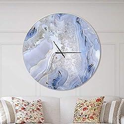 Designart Agate Stone Background' Oversized Modern Metal Clock, Circle Wall Decoration Art, 38x38 Inches, White