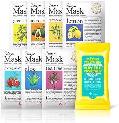 Ariul Natural Face Mask Facial Sheet Mask Pack, 7 Days Mask Set (7 ea) + Free Stress Relieving Purefull Cleansing Tissue (15 wipes) Green Tea, Bamboo, Aloe, Tea Tree, Pomegranate, Lemon, Avocado