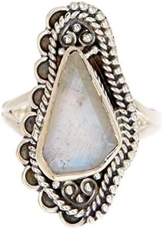 Sterling Silver & Rainbow Moonstone Handmade Wholesale Gemstone Fashion Jewelry Ring