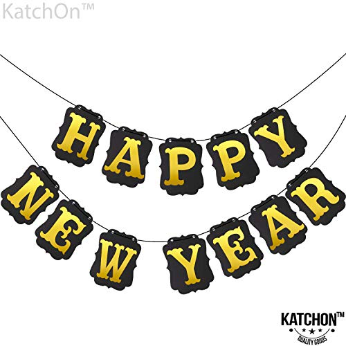 Happy New Year Banner Decorations - Sturdy Black Cardstock, Gold foil Letter | Hanging Garland Sign, No DIY Required | Great for Oscars Award Themed New Years Eve Party Supplies Kit | Home Office