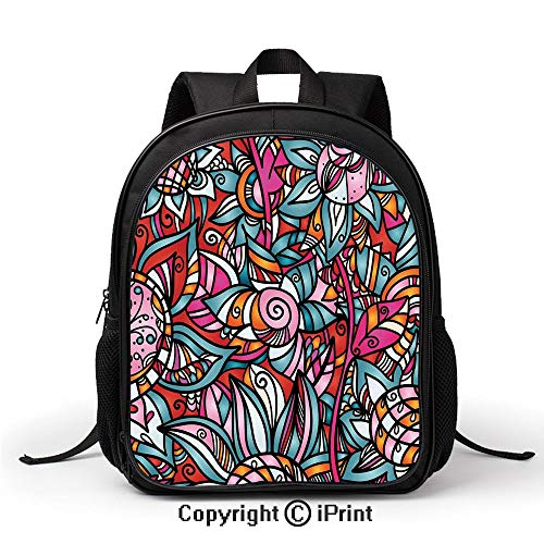 Comfortable Breathable School Bag Colorful Abstract Florals Sunflower Mosaic Curl Ornaments Stained Glass Decorative Backpack :Suitable for Men and Women,School,Travel,Daily use,etc,]()