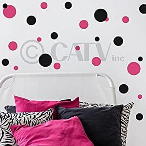 Set of 130 Dark Pink and Black Polka Dots Wall Graphic Vinyl Lettering Mural Decal Stickers Kit Peel and Stick Appliques
