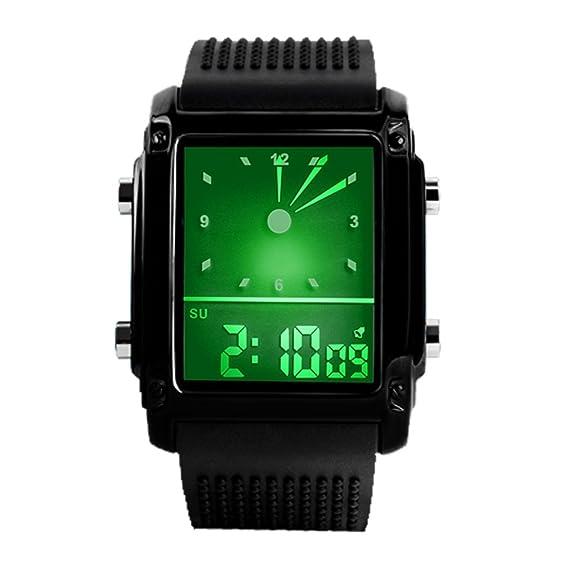 Deportivos Relojes de Hombre Mujer Analógico Digitales Electrónica 50M Resistente Agua Multifuncional Rectangular Acero Inoxidable Relojes
