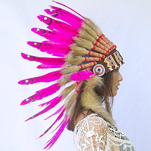 Feather Headdress- Native American Indian Inspired- Handmade by Artisan Halloween Costume for Men Women - Real Feathers - Pink Duck