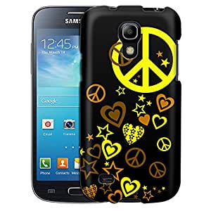 Samsung Galaxy S4 Mini Case, Slim Fit Snap On Cover by Trek Yellow Love Peace Stars on Black Case