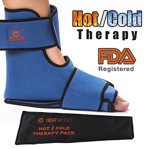 Foot & Ankle Pain Relief Hot/Cold Therapy System - Foot Ice Pack Wrap - Relieve Foot and Ankle Aches & Pains from Injuries Using Compression Wrap Packs for Ankles and Feet. Heat or Freeze Gel Insert ()