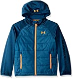 Under Armour Boys' Big Day Trekker Hooded Hybrid Jacket, Techno Teal, Large (14/16)