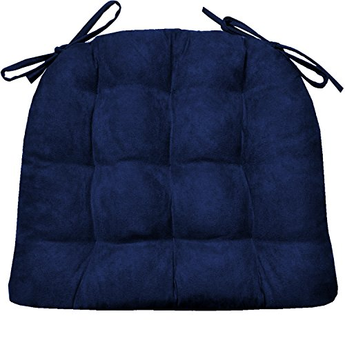 Dining Chair Pad with Ties - Microsuede Royal Blue Micro Fiber Ultra Suede - Size Extra-Large - Reversible, Latex Foam Fill, Machine Washable (Navy Cushions Dining Chair)