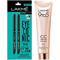 Lakme Eyeconic Kajal Twin Pack, Black, 0.35g with 0.35g & Lakme 9 to 5 Complexion Care Face Cream, Beige, 30g